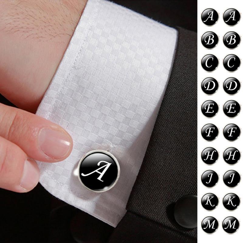 1 Pair Men Cuff Links Alphabet Single Letter A-Z Black Bottom Silver Plated Wedding Party Vintage 16mm Men Cufflink