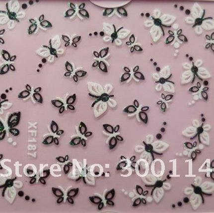 wholesale 54 styles 3D Nail Art Stickers XF151-204 serial DIY french Nail Decoration 1000 packs/lot free DHL/EMS shipping