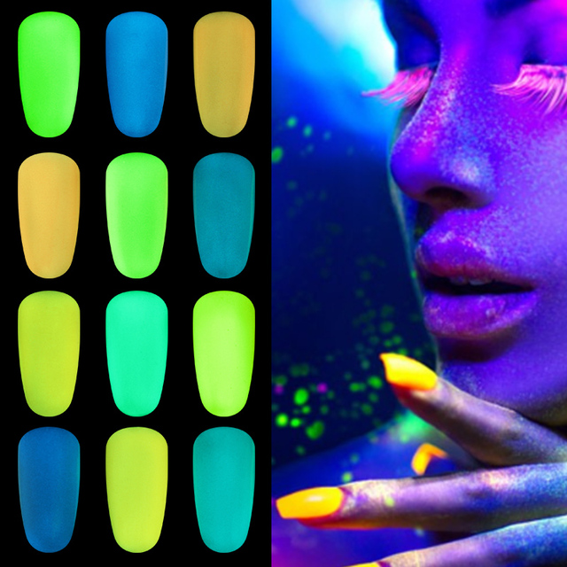 1g Night Glow Ultrafine Fluorescent Effect 12 Colors Glow In The