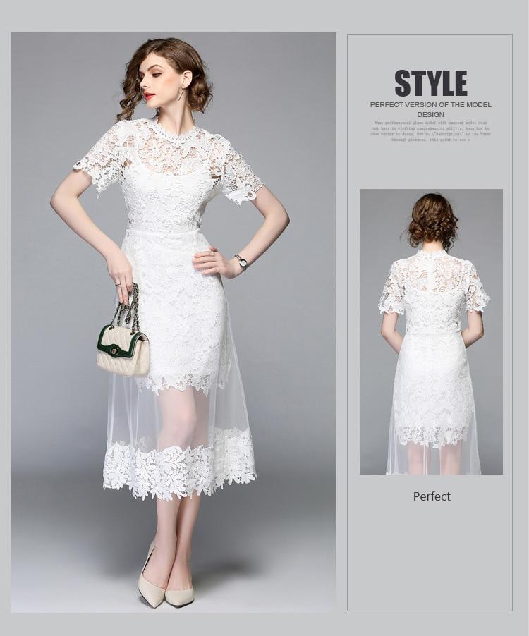 White Lace Stitching Mesh Gauze O-neck Short Sleeve Mid-calf Dress