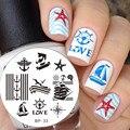 1 Unid Nacido Pretty Nail Plate Estampación Sailors & Sea Vela tema Nail Art Sello Plantilla Placa de la Imagen del Sello Del Clavo #17916