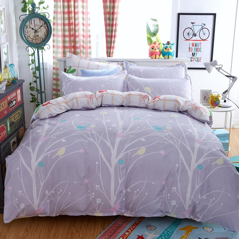 Textiles Para el hogar, juegos de cama patrón de aves y ramas 3/4 Unids de duvet