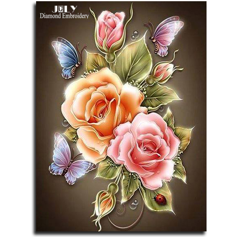 Flowers Butterfly Rose Resin Products Diy Diamond Painting