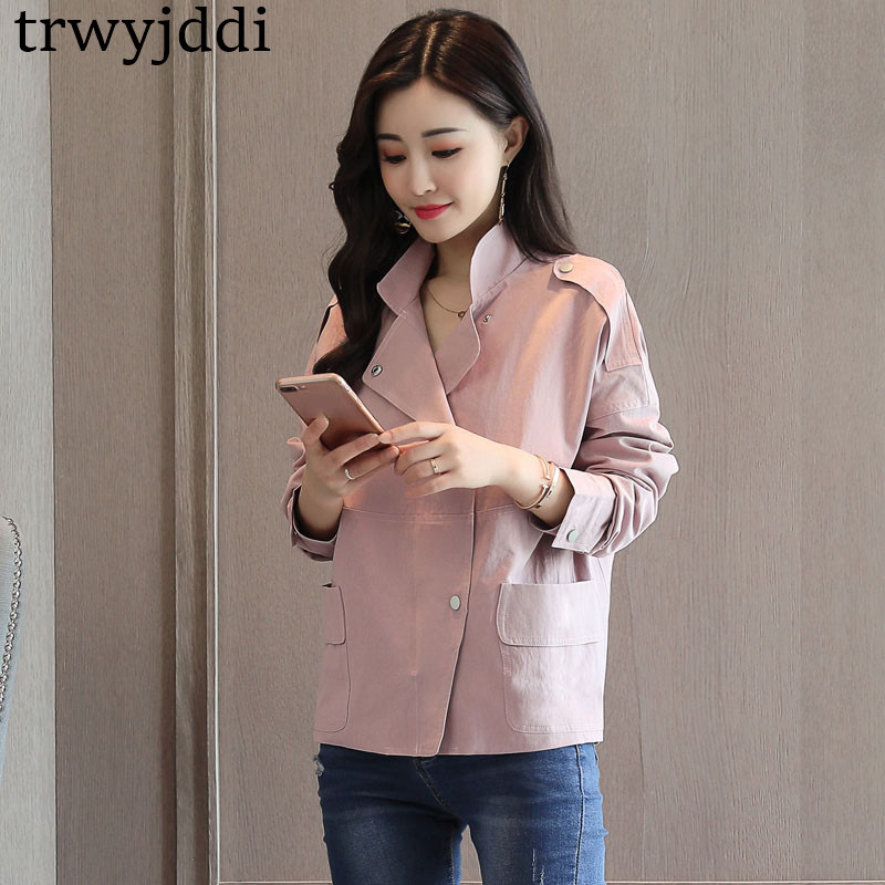 New Windbreaker Female 2019 Spring Coat Chic Stand Collar Single-breasted Korean Simple Short   Basic     Jacket   Cotton Outwears hl504