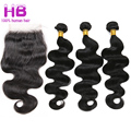 7A Queen Brazilian Body Wave 3 Bundles With Closure Cheap Brazilian Virgin Hair With Closure Wavy Human Hair Weave With Closure