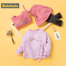 Balabala child clothing suit set toddler girl girls costume o-neck long sleeve Pullover sets with Belt
