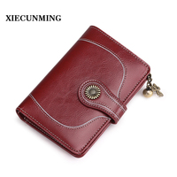 2018 New Vintage Style Women Clutch Small Wallet Split Leather Wallet Female Short Wallet Women Coin Purse Flower Hardware