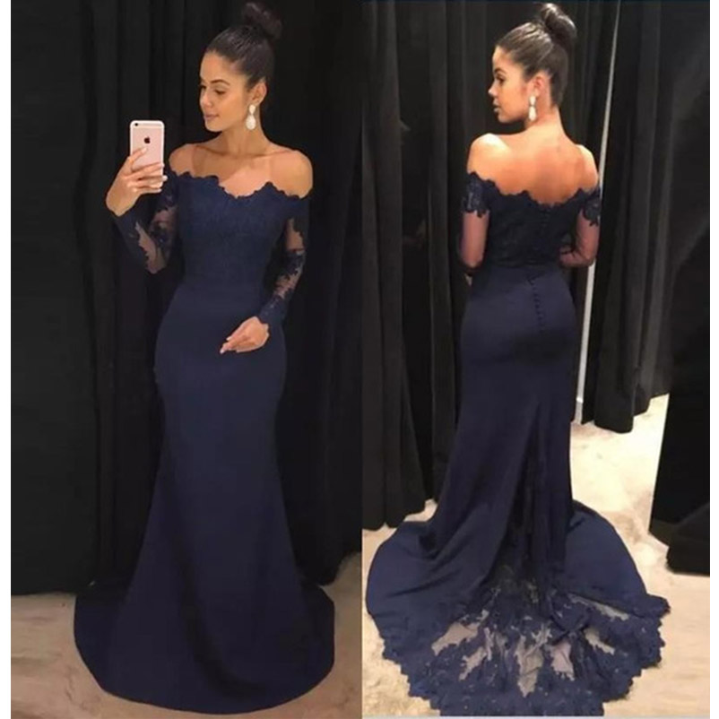 Off-the-Shoulder   Bridesmaid     Dresses   Long Sleeve Applique Chiffon Lace Train Prom   Dresses   Navy Blue Mermaid Trumpet Hot Sale 2019