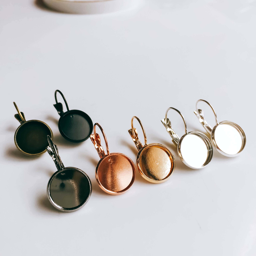 ZEROUP 12mm 10pcs Earring Hooks Round Silver Plated Cabochon Cameo Tray Settings Earring Blank Base Supplies for Jewelry 4