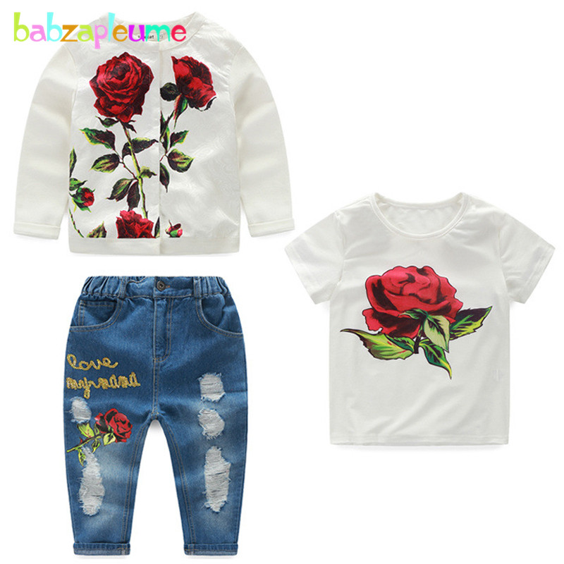 3Piece/3-10Years/Spring Autumn Children Clothing Set Fashion Flowers Jacket+T-shirt+Jeans Baby Girls Outfits Kids Clothes BC1253 2pcs children outfit clothes kids baby girl off shoulder cotton ruffled sleeve tops striped t shirt blue denim jeans sunsuit set