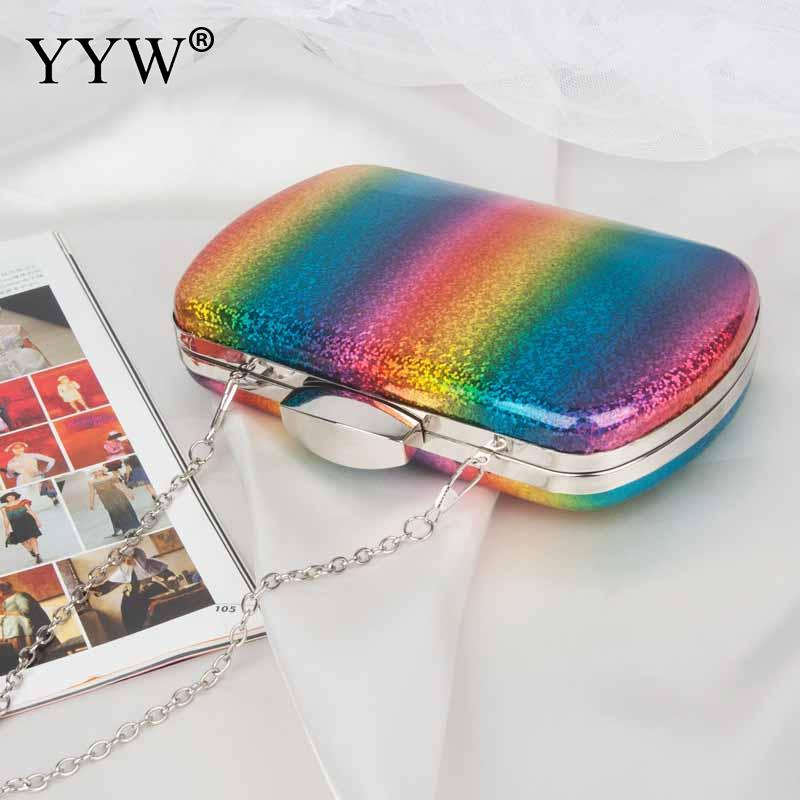 Image 4 - Fashion Rainbow Box Evening Bag Women Designer Elegant Bag Party Wedding Clutch Purse Female handbag Jelly Chain Shoulder BagsTop-Handle Bags   -