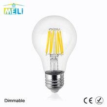 Bombillas E27, lámpara de vidrio incandescente atenuable A60, bombilla de filamento Led, 8W, 12W, 16W, bombilla Led antigua Retro de 220V