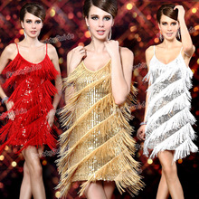 2015 Free shipping 1920s Vintage Bling Bling Sequin Fringe Tassel Sway Gatsby Flapper Costume Party Dress