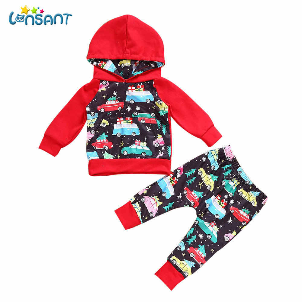 c7f23a430 LONSANT Newborn Infant Baby Boy Girl Casual Hooded Long Sleeve Tops+Pants Christmas  Outfit Clothes