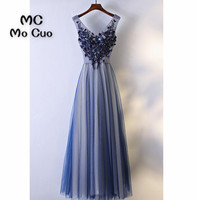 Elegant Navy Blue Prom Dresses Long With Appliques Lace Beaded Illusion Dress For Graduation Formal Evening