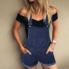 Summer Women Playsuit Rompers Ladies Fashion Denim Short Jumpsuits Overalls Casual Female Streetwear Black White Green Pink H40