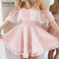 New Women Formal Lace Dress Summer Prom Off Shoulder Party Wedding Gown Short Sleeve Short Mini Dresses Solid Black innor#398