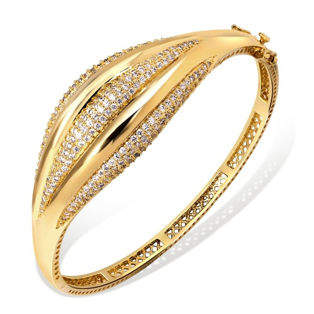 DC1989 Women's Top AAA CZ Prong Setting Trendy Look Bangle Bracelet Lead Free Rhodium  Gold Plating Bridal Wedding Jewelry