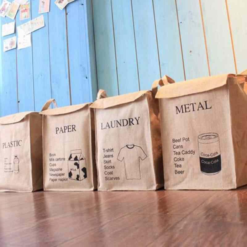 Lençóis de algodão Dust-proof Cestas com Alças E Tampa de Armazenamento Roupa Suja Cesta de Lavanderia Saco Organizador Para Banheiro de Casa