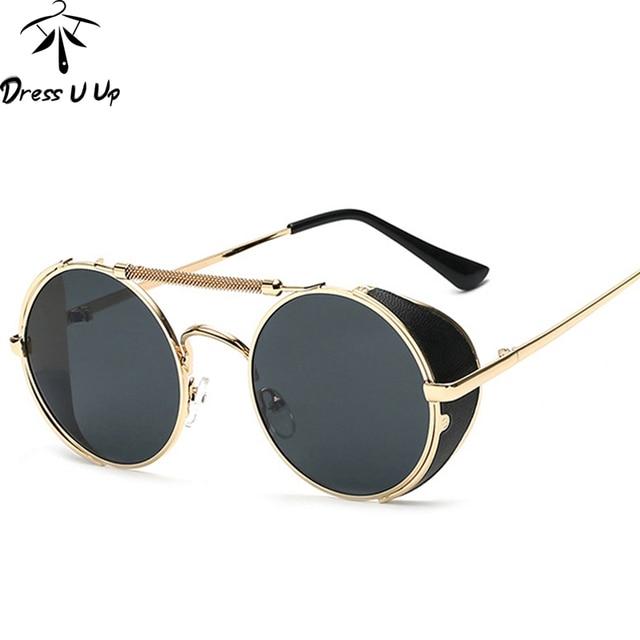 8dd05db2a9c DRESSUUP Retro Steampunk Sunglasses Women Brand Designer Vintage Shades  Reflective Sun Glasses Coating Oculos De Sol Feminino
