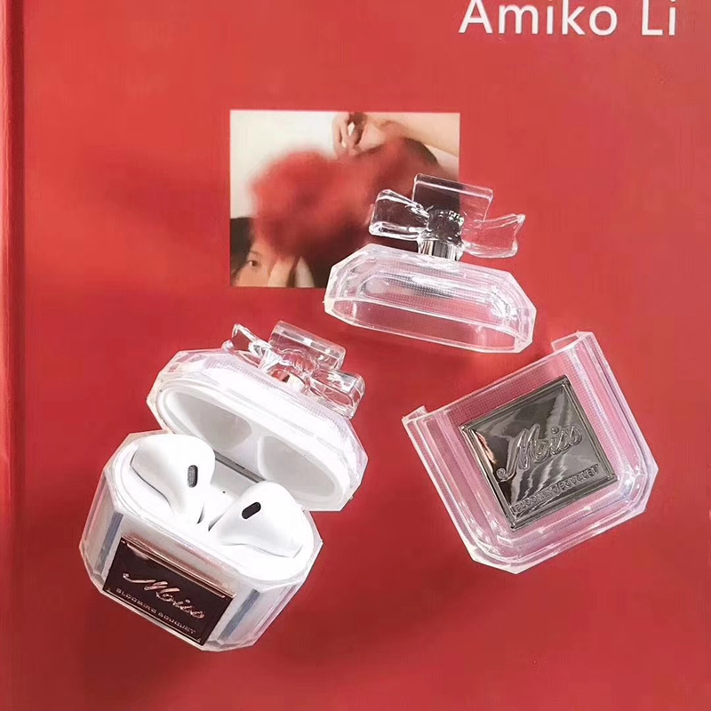 Image 2 - Luxury brand perfume bottle metal transparent silicone case For Airpods Bluetooth Charging Bag Earphone Headset Box Accessories-in Earphone Accessories from Consumer Electronics