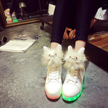 Women  USB Charging High Top Luminous LED Light Shoes 7 Colors Flashing Casual Light up Shoes for Adult High-help women light