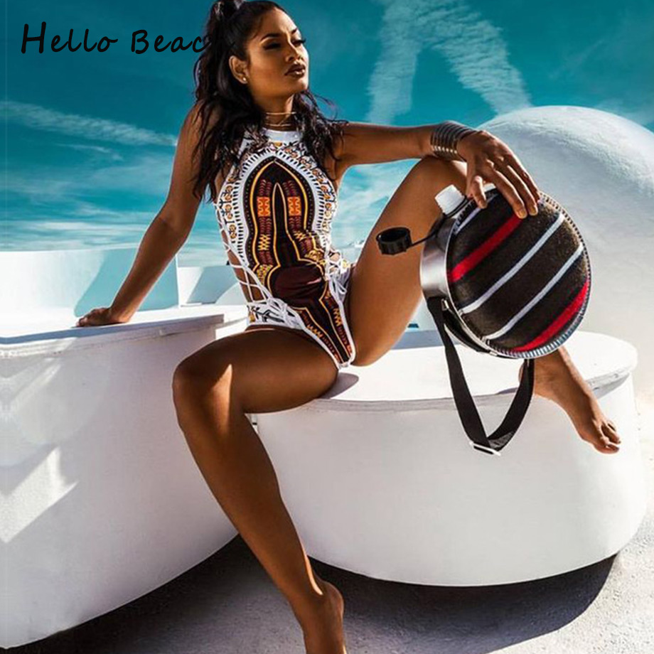 HELLO BEACH 2018 New One Piece Swimsuit Bandage bodysuit African Printed Swimwear Female High Cut Monokini Sexy High Neck(China)