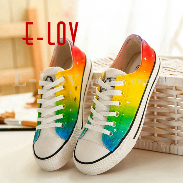 E-LOV 4 Special Painting Unisex Designs Hand-Painted Canvas Shoes Personalized Women Men Adult Casual Shoes Cute Platform Shoes
