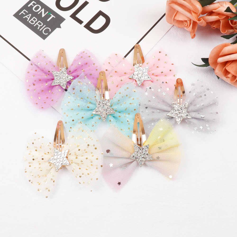 Аксессуары для волос 3 ''органза принцесса банты для волос для девочек милые заколки для волос модная сетчатая ткань блестящая Звезда заколки для волос 2 шт