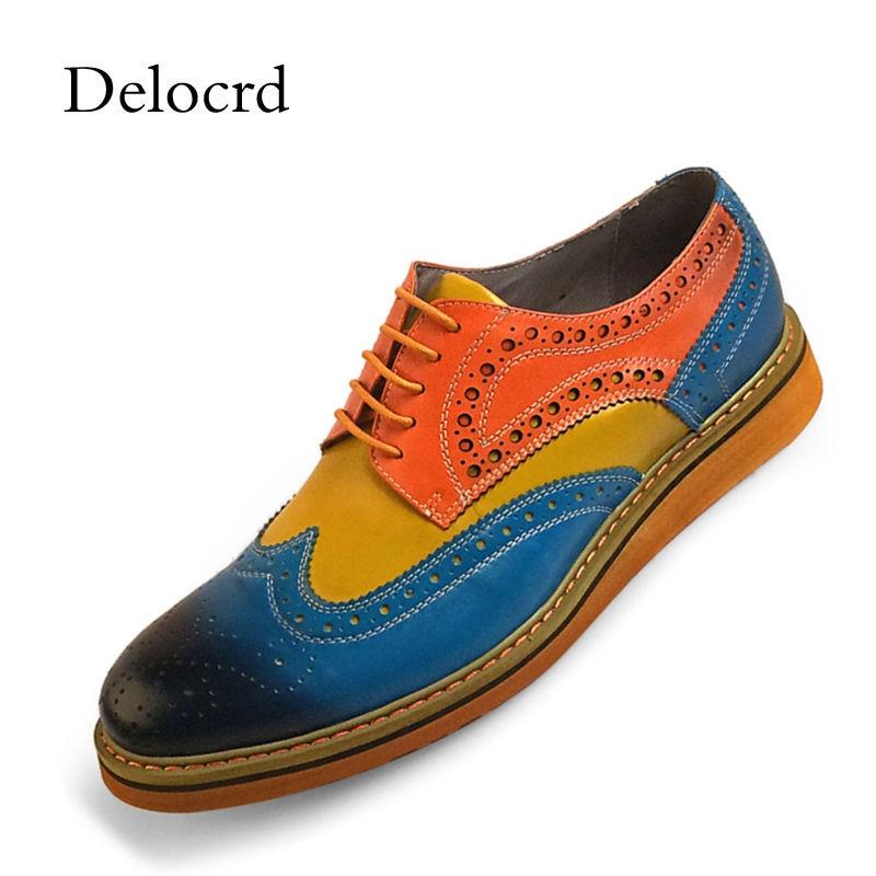 Marque Pleine fleur En Cuir Classique Hommes Derbies Rétro Sculpture Oxford Chaussures En Cuir Véritable de Haute Qualité Hommes Chaussures De Mariage Grande Taille