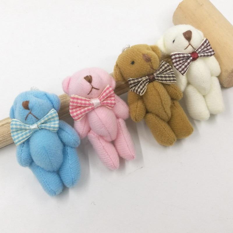 3pc Little Mini Cute 4Colors 6CM Joint Bear Stuffed Plush TOY DOLL Bear Plush TOY Garments Hair Decor Plush DOLL Accessories TOY