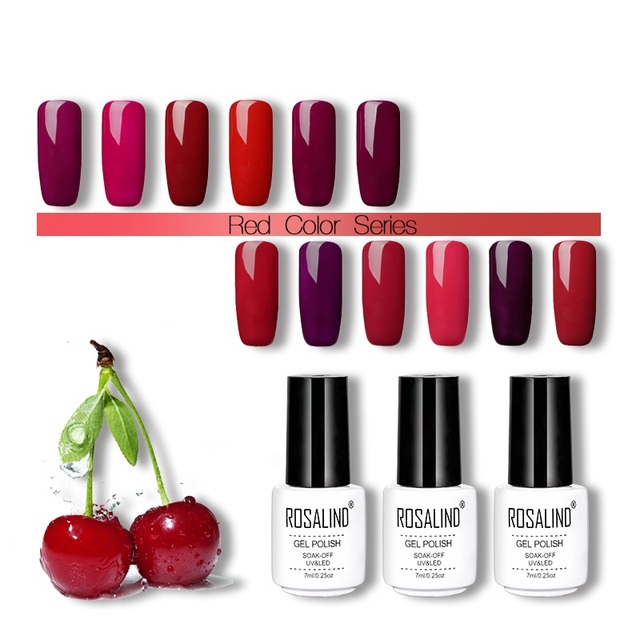 ROSALIND Gel 1 s Rouge + Gris Couleurs Nail gel 7 ml UV/LED Lampe Semi Permanent Livraison gratuite long-durable Gel vernis
