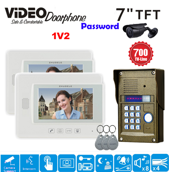 ZHUDELE 7 inch Wired Video Door Phone Doorbell Home Security Intercom System 700TVL RFID Camera LED Night Vision White Monitor