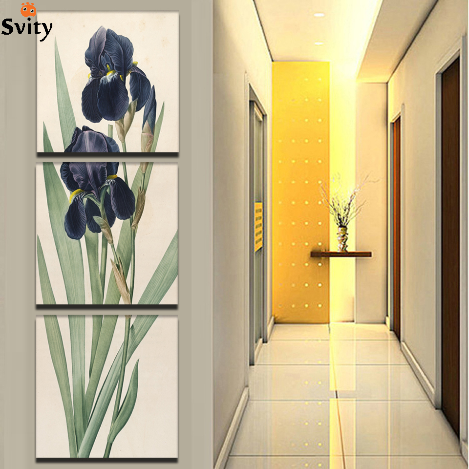Giveaways wall sticker Home Decor Blue Flower Painting 3 piece ...