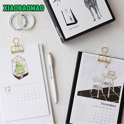 Cute cartoon clip + 15 month card style 2017 2018 Two year desk calendar weekly planner give
