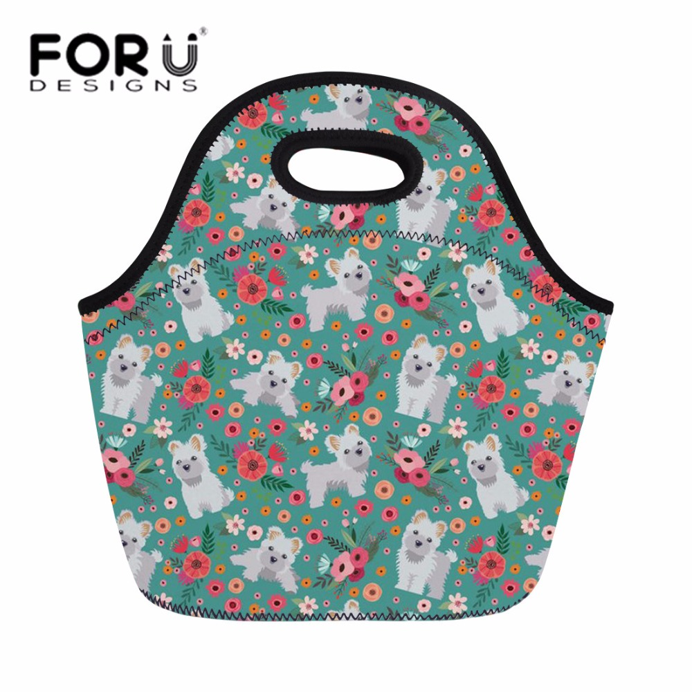 FORUDESIGNS Neoprene Lunch Bag for Women Cute Maltese Florals Handbag Tote Picnic Travel Foodbag Kids Girls Thermal Lunch Box