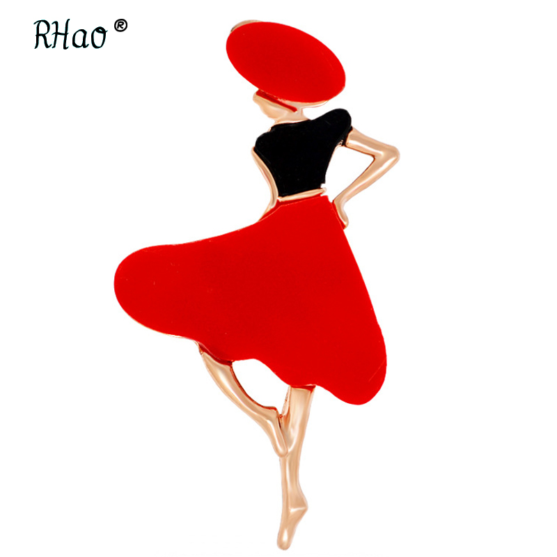RHao Hot Sale Women Red Acrylic Ladies Brooches pins enamel pins for women Scarf buckle clips girls lovely figure brooch jewelry