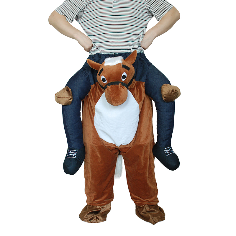 Christmas Deluxe Costume Adult Ride Horse Ride on Cowboy Mascot Costumes Piggy Back Riding Shoulder Holloween Carnival Costume