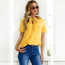 Summer Women Blouse 2019 Collar Fake Ladies Long Sleeve Tops Tunic Yellow Chiffon Female Cloth