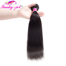 Funky Girl Brazilian Straight Human Hair 1/3/4 Pcs Hair Weave Bundles 10-30inch Natural Color Free Shipping Non Remy Hair(China)