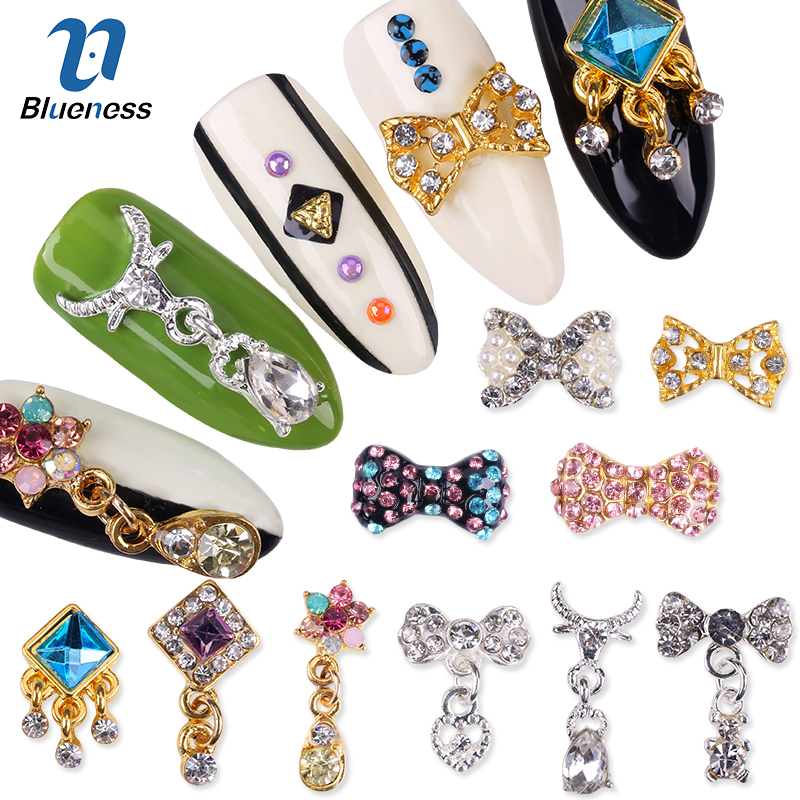Nail Art Rhinestones 10 Pcs/Lot 3D Nails Charms Jewelry Alloy Bow Tie With Pendant Glitter Crystal Decorations 50 pcs set 3d nail art decorations glitters diy nail tools full rhinestones silver crown crystal nails studs1