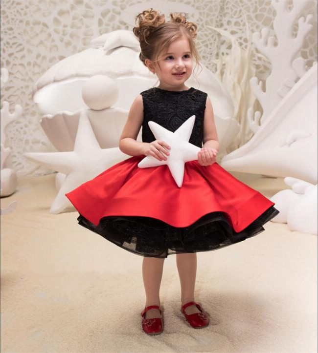 Cute Baby Girls Birthday Dresses Black Lace Red Two Pieces Kids Knee Length Pageant Gown Flower Girl Dress for Wedding 2017 red cute flower girl dress for wedding with crystals ruffle tulle baby lace dress little kids pageant gowns