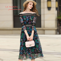 2018 New Arrivals Spring Hot Natural Silk Fashion Floral Print Early Spring Lace Dress Slash Neck