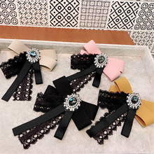 Korea Handmade Lace Solid Vintage Bowknot Rhinestone Shirt Pins Neck Bow Tie Accessories Fashion Jewelry-YHNLB039F