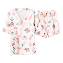 summer 2019  pyjamas women cotton printed cardigan kimono short-sleeved shorts 2pcs suit Kawaii straps short sleeve shirt damska