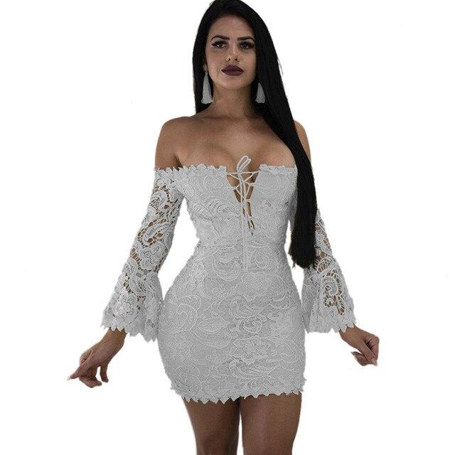 32fe1c9ac47c8 Satılık Seksi Kapalı Omuz Beyaz Dantel Elbise Kadınlar Hollow Out ...