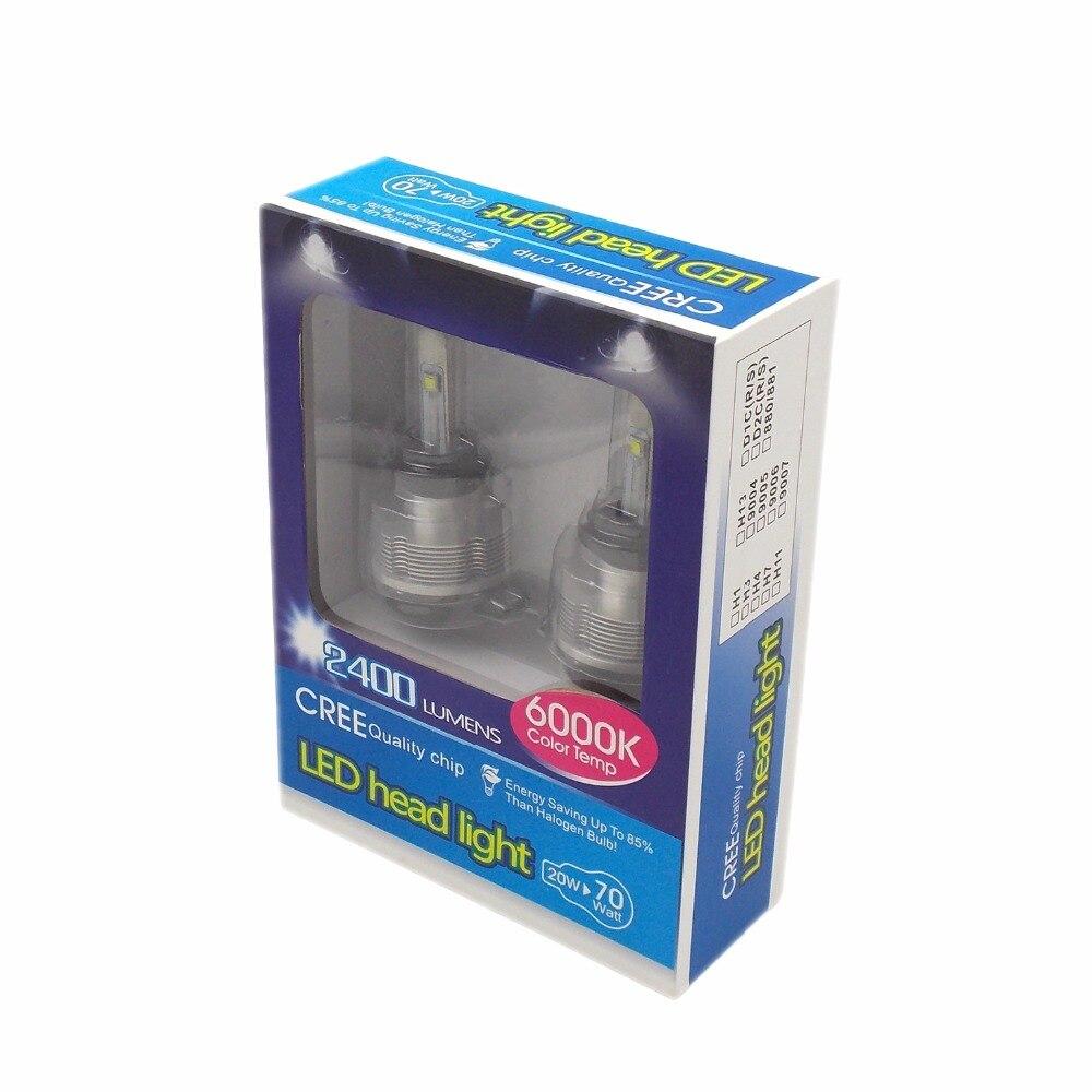 Kit de Conversion d'ampoule de phare LED de voiture de haute qualité H7 12 V 24 V 6000 K 2400LM 20 W lampe de lumière principale automatique de puce de qualité de CREE (une paire) - 6