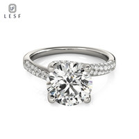 Lesf Новая Коллекция стерлингового серебра 925 Круглый кольца ясно 2 ct CZ милый романтический кольцо Fine Jewelry подарок для Для женщин