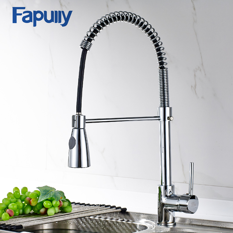 Fapully Kitchen Sink Faucet Pull Out Brushed Nickel Faucet Torneira All Around Rotate Swivel Kitchen Mixer Tap 190-33C xoxo kitchen faucet brass brushed nickel high arch kitchen sink faucet pull out rotation spray mixer tap torneira cozinha 83014