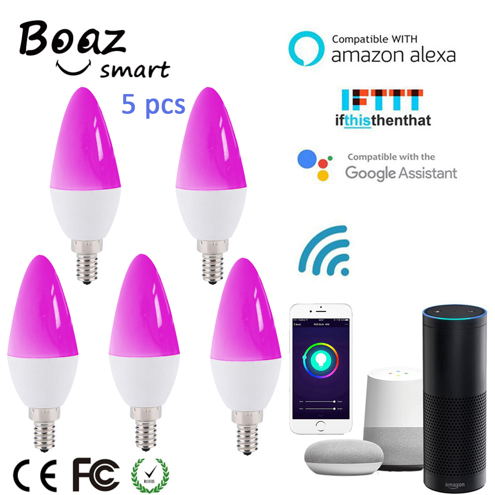 Boaz-EC Smart E14 Wifi Light Bulb Smart Wifi Led Candle Bulb Tuya Smartlife APP Voice Control Alexa Echo Google Home IFTTT 5pcs